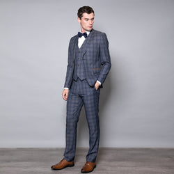 Churchill Slim Fit Blue Check Three Piece Suit