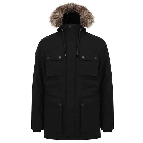 Damon Hooded Parka Jacket In Black