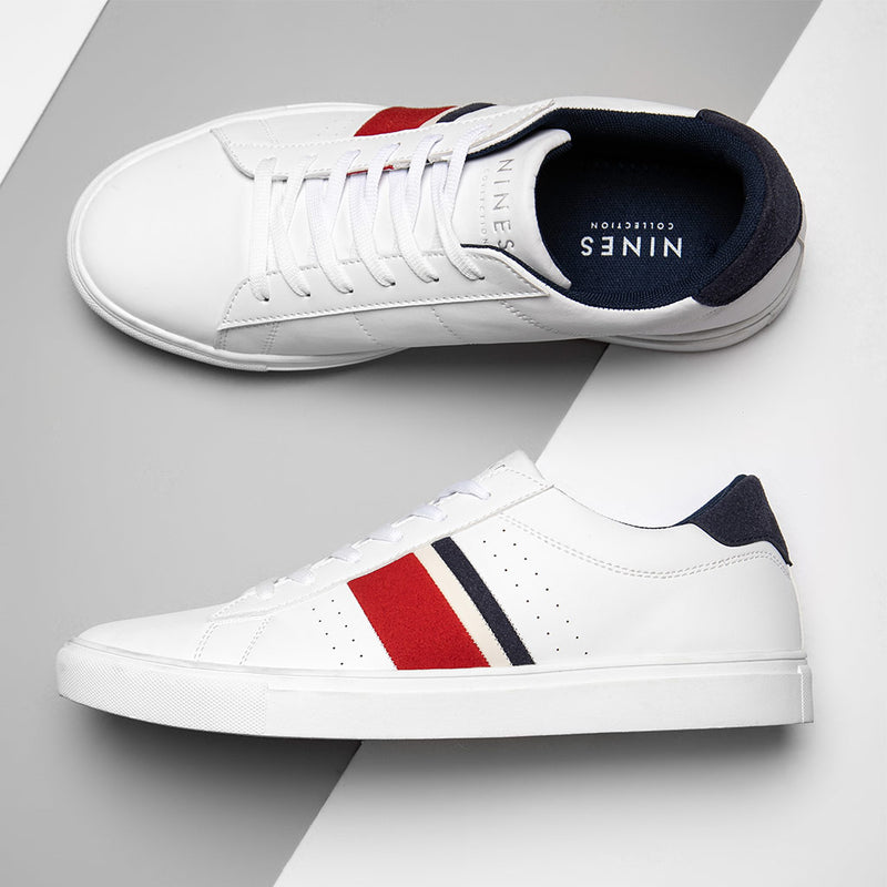 Fabian White Trainers With Contrasting Stripes