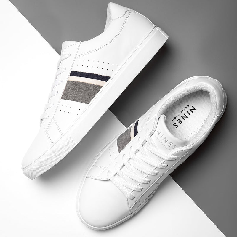 Fabian White Trainers With Contrasting Stripe Detail
