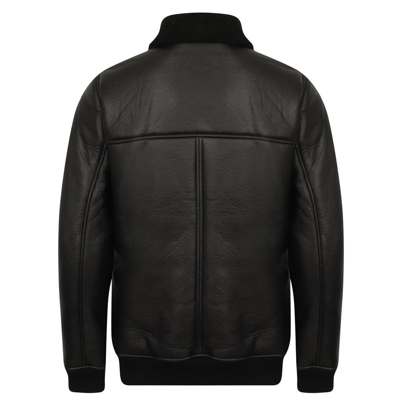 Falcon Faux Suede Borg Jacket In Black