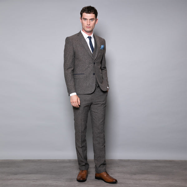 Finn Slim Fit Three Piece Suit In Tan