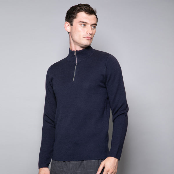 Ludlow Merino Wool Blend Knit Jumper In Navy