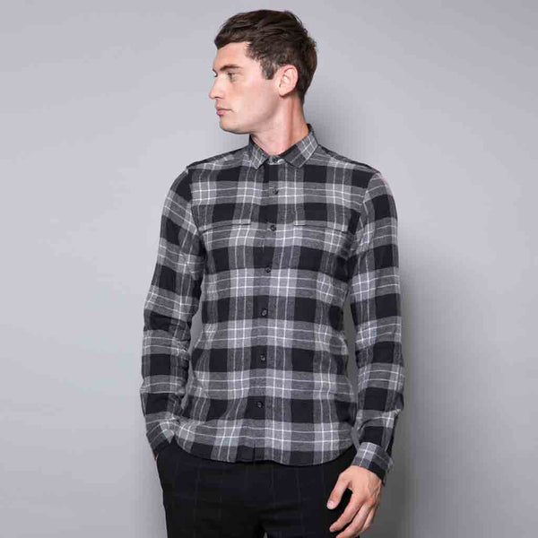 Leo Long Sleeve Cotton Checked Shirt