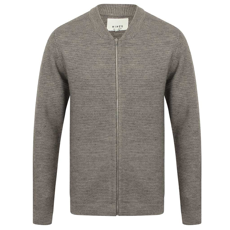 Ligenza Knitted Zip Through Cardigan in Grey