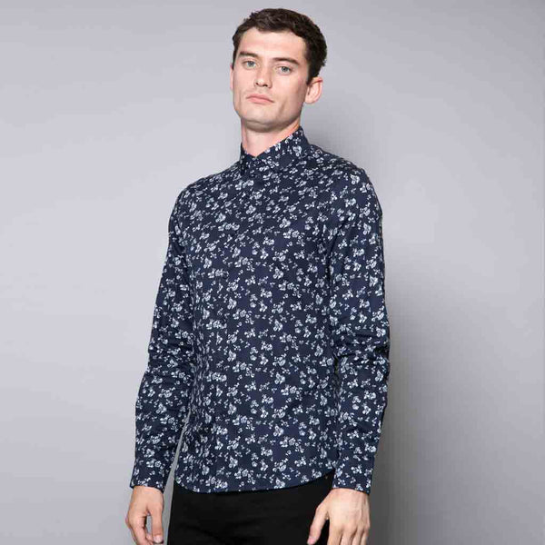 Oscar Navy All Over Floral Print Shirt