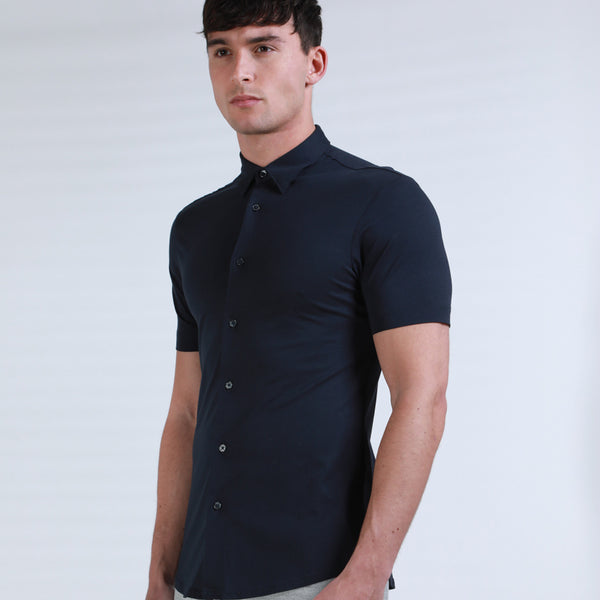 Potenza Mercerised Short Sleeved Shirt in Navy