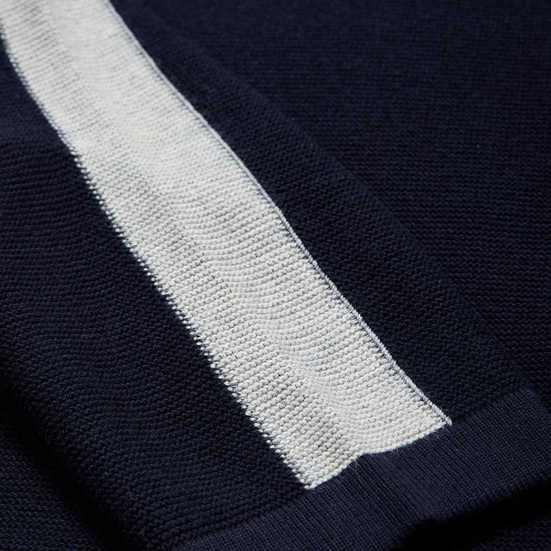 Rupert Crew Neck Jumper With Stripe Sleeve In Navy
