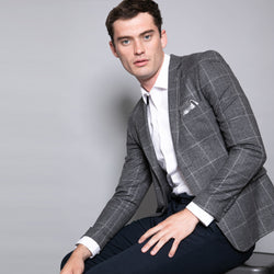 Senna Slim Fit Grey Check Jacket
