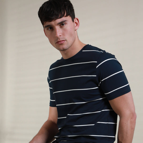 Timo Mercerised Stripe T-Shirt