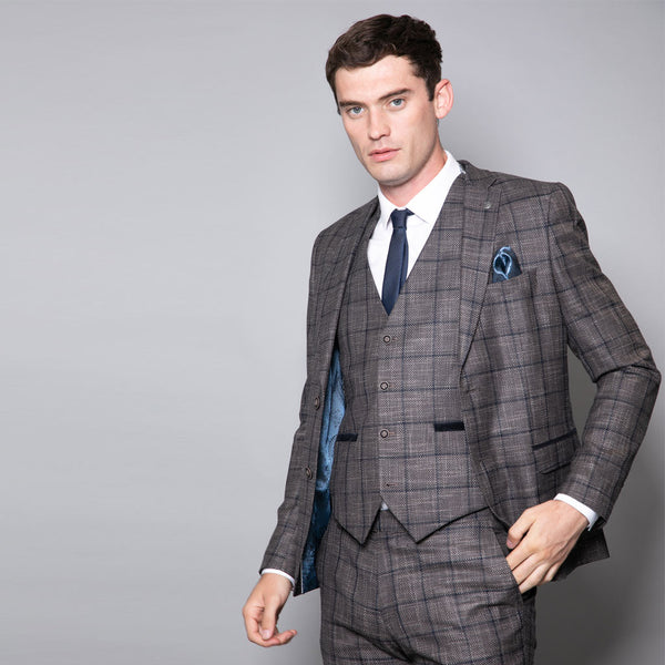 Tommy Slim Fit Brown and Navy Three Piece Suit