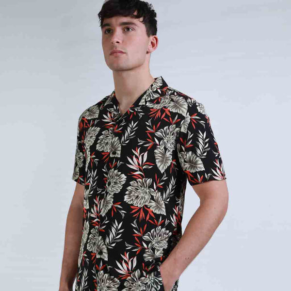 Whiteway Botanical Print Revere Collar Shirt