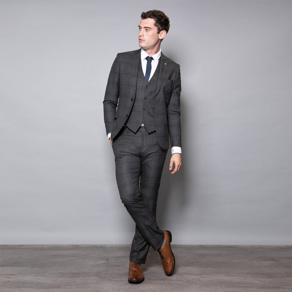 Winston Slim Fit Grey Check Three Piece Suit