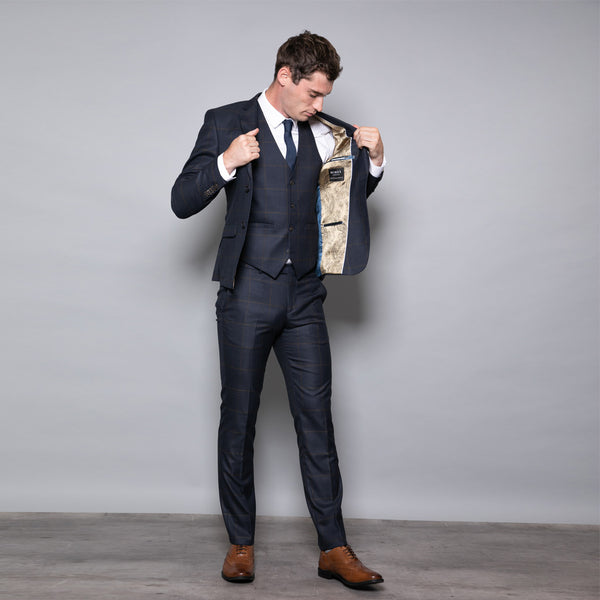 Winston Slim Fit Navy and Yellow Check Three Piece Suit