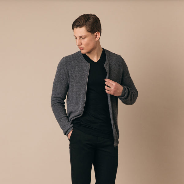 Beauchamp Lambswool Blend Zip Through Cardigan in Grey Marl - Nines Collection