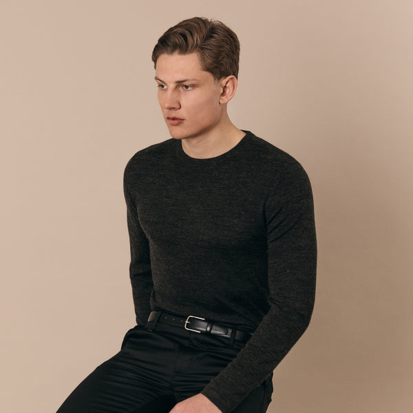 Blenheim Merino Wool Blend Crew Neck Jumper in Charcoal - Nines Collection