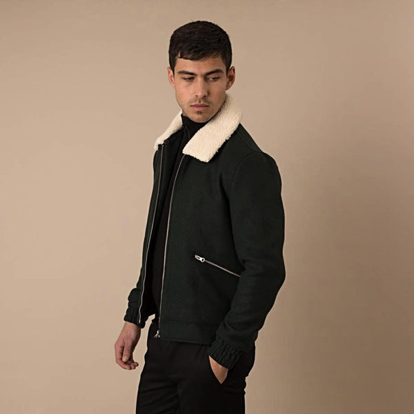 Lanai Sherpa Collar Coach Jacket in Bottle Green - Nines Collection