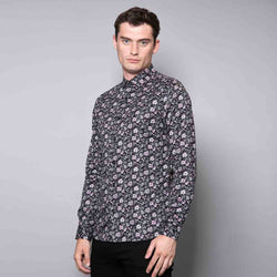 Powell Floral Print Black Shirt