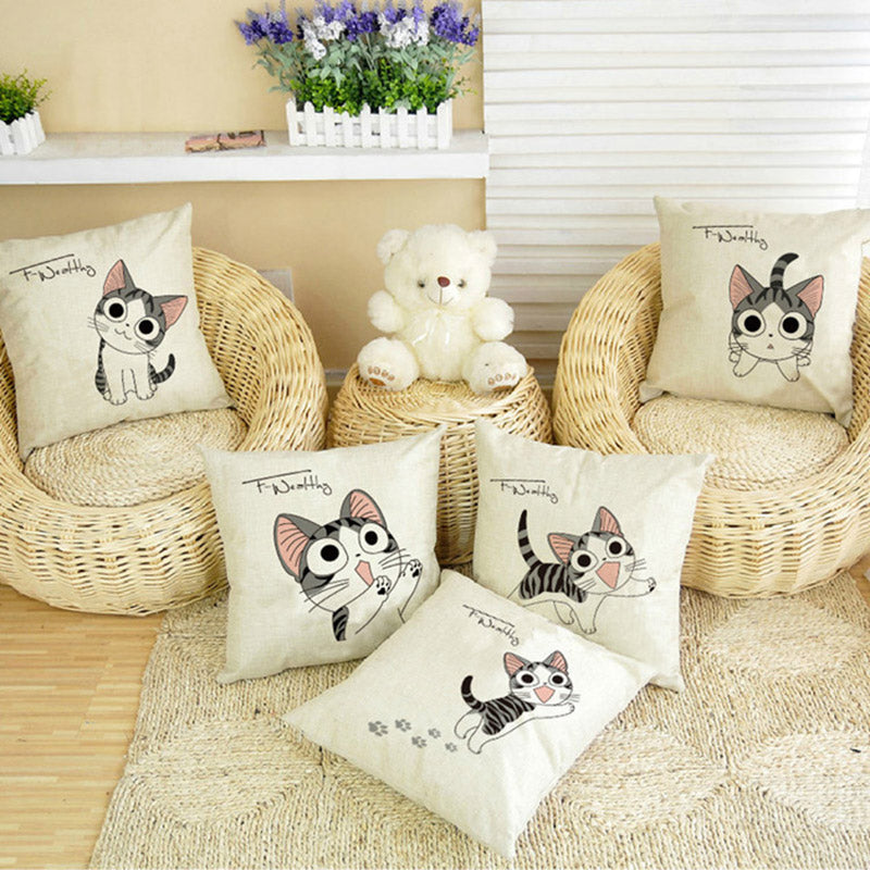 Cartoon Cat Home Cushion Pillow Cases