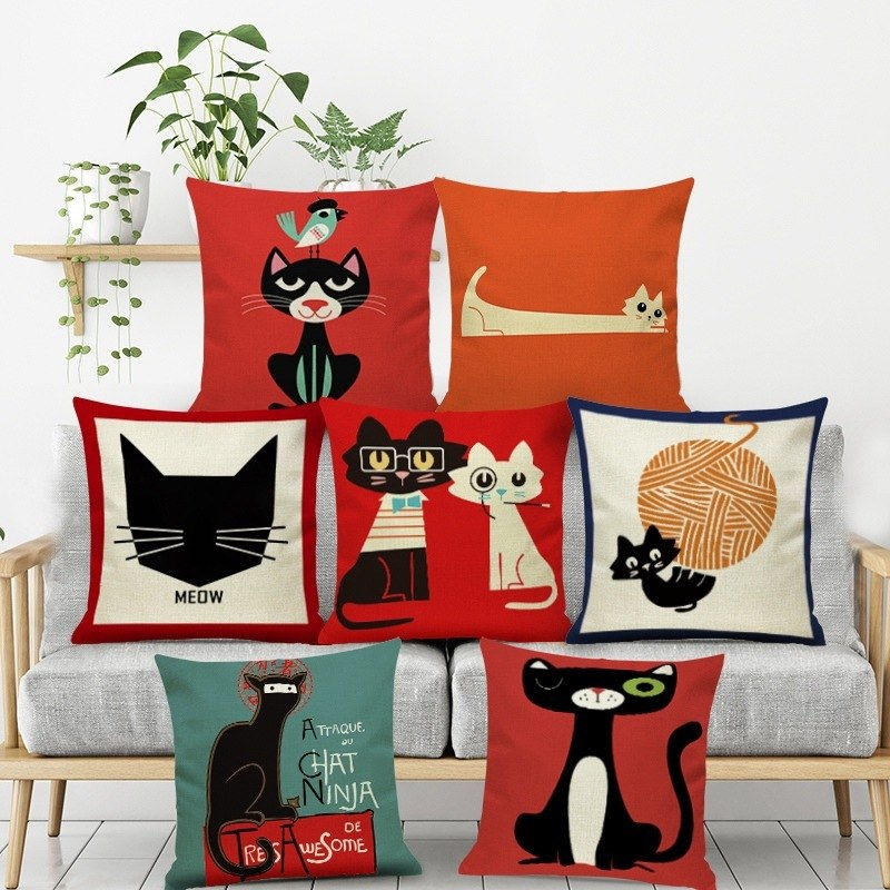 Artsy Cat Home Cushion Pillow Cases