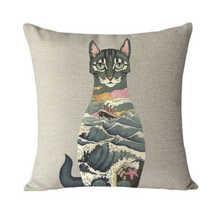 Creative and Colorful Cat Home Cushion Pillow Cases