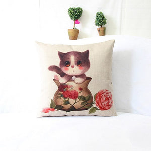 Cartoon Playing Cat Home Cushion Pillow Cases
