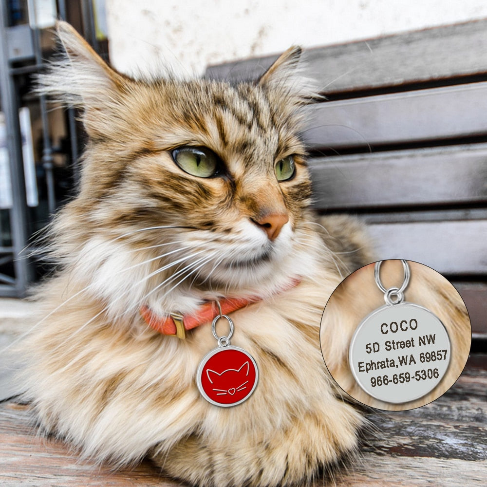 Personalized Pet ID Tag with Engraving - Round Cat