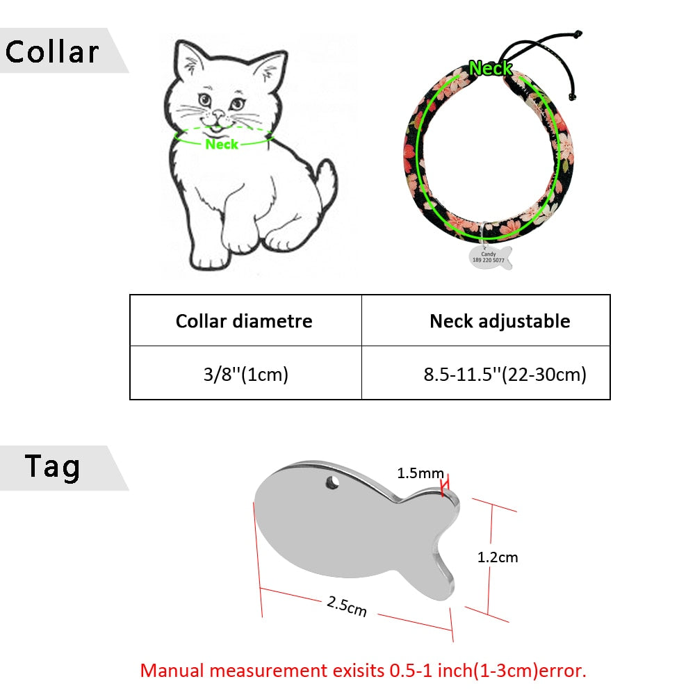 Handmade Japanese Kimono Flower Cat Collar with Bell and Personalized Metal ID Tag Engraving