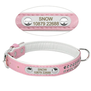 Padded Leather Pet Collar with Rhinestone and Personalized Metal ID Tag Engraving