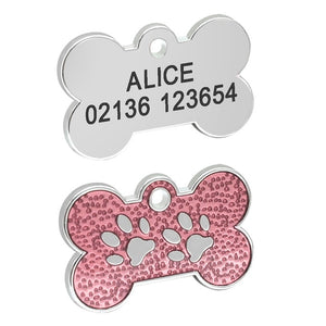 Personalized Pet ID Tag with Engraving - Bone Grained