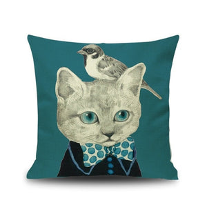 Cat Family Portrait Home Cushion Pillow Cases