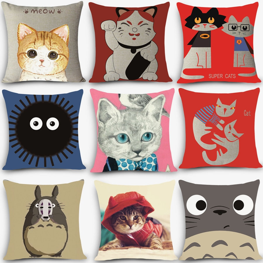 Popular Cartoon Cats Home Cushion Pillow Cases