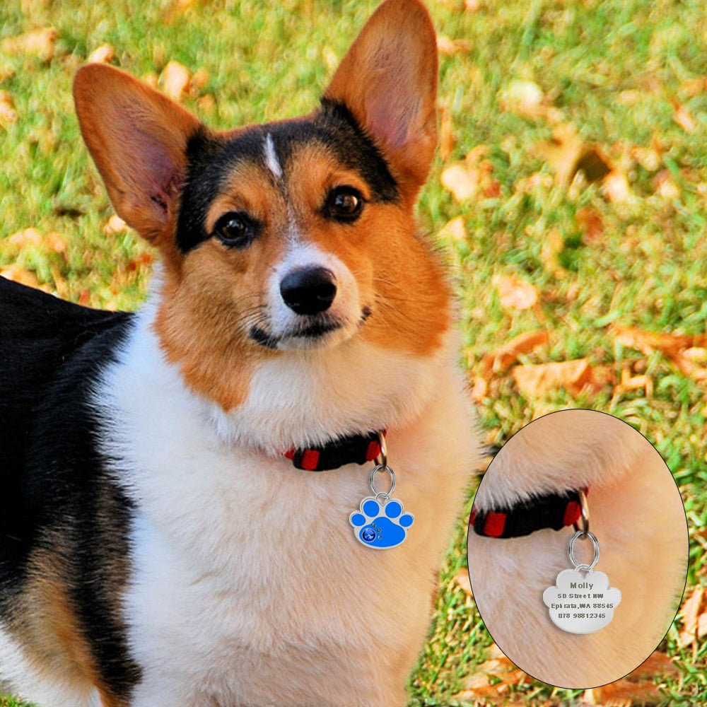 Personalized Pet ID Tag with Engraving - Bone & Paw Diamond