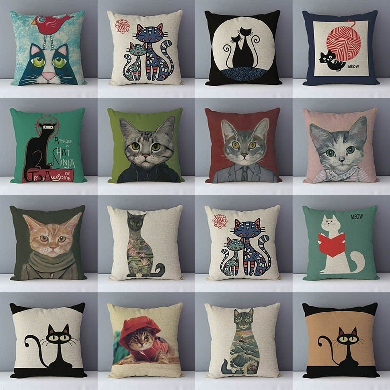 Beautiful Printed Cat Theme Couch Cushion Cases