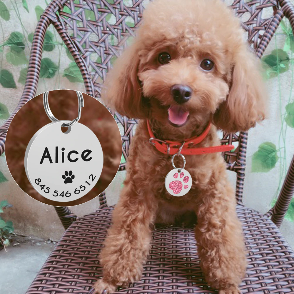 Personalized Pet ID Tag with Engraving - Round Paw Glitter