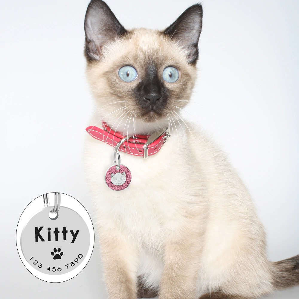 Personalized Pet ID Tag with Engraving - Round Cat Face