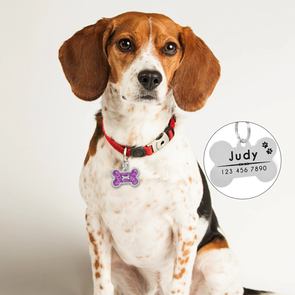 Personalized Pet ID Tag with Engraving - Bone Glitter