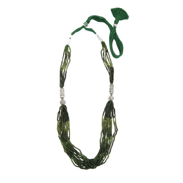 Green shades of Real Tourmaline woven into a Silver necklace with antique silver motifs.