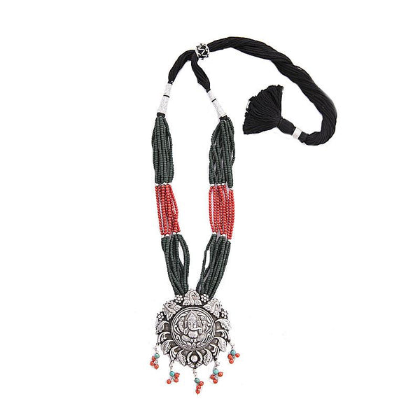 Ganesh Temple Silver Necklace with real turquoise and coral natural stones. Silver Temple motifs.