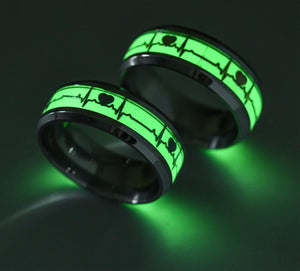 Glow in the dark couple ring