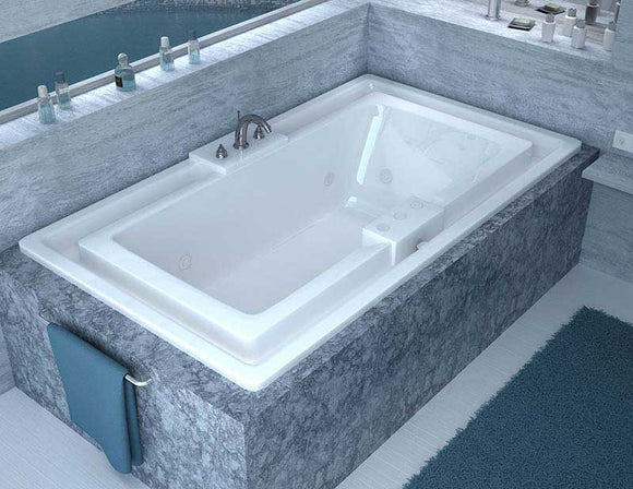 Venzi Celio 46 x 78 Endless Flow Whirlpool Jetted Bathtub with Center Drain By Atlantis