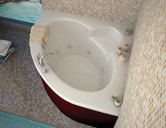 Venzi Esta 60 x 60 Corner Whirlpool Jetted Bathtub with Center Drain By Atlantis
