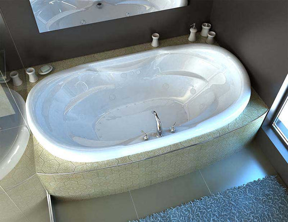 Venzi Grand Tour Aline Waterfall 41 x 70 Oval Air & Whirlpool Jetted Bathtub with Center Drain By Atlantis