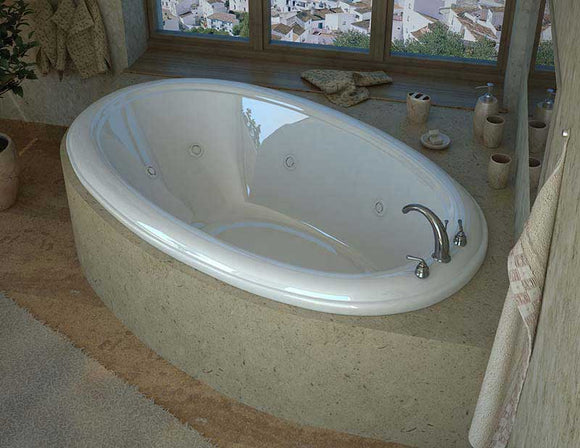 Venzi Vino 44 x 78 Oval Whirlpool Jetted Bathtub with Center Drain By Atlantis