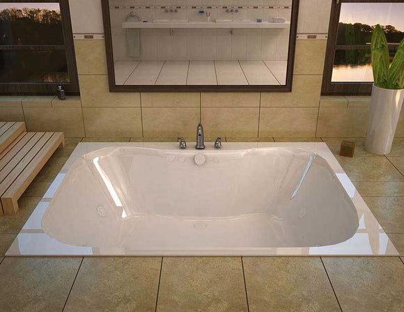 Venzi Flora 48 x 60 Rectangular Whirlpool Jetted Bathtub with Center Drain By Atlantis