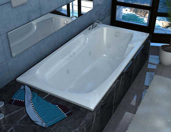Venzi Aesis 42 x 72 Rectangular Air & Whirlpool Jetted Bathtub with Left Drain By Atlantis