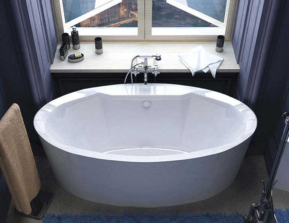 Venzi Sole 34 x 68 x 23 Oval Freestanding Air Jetted Bathtub with Center Drain By Atlantis