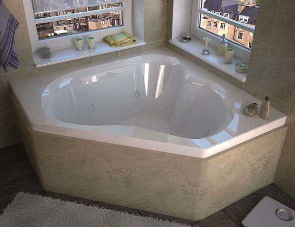 Venzi Grand Tour Tovila 60 x 60 Corner Air & Whirlpool Jetted Bathtub with Center Drain By Atlantis