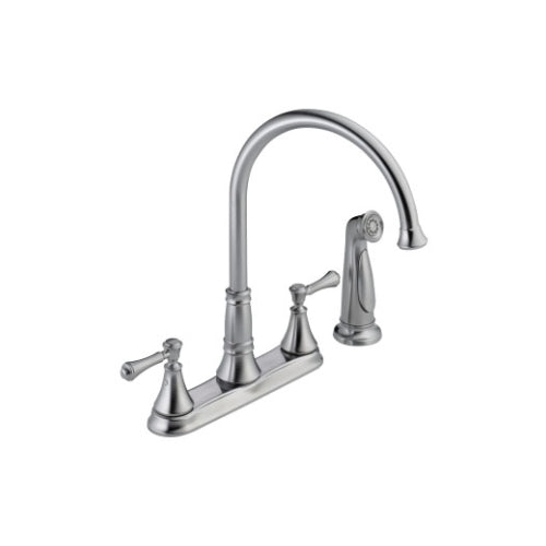 DELTA CASSIDY: TWO HANDLE KITCHEN FAUCET WITH SPRAY WITH SIDESPRAY TWO HANDLE LEVER ARCTIC STAINLESS