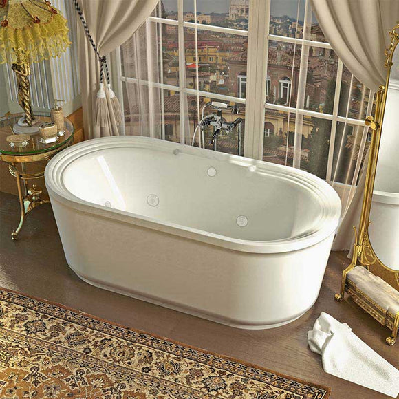 Venzi Padre 34 x 67 x 21 Oval Freestanding Air & Whirlpool Water Jetted Bathtub with Center Drain By Atlantis